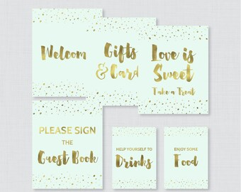 Mint and Gold Bridal Shower Table Signs - Printable Mint and Faux Gold Foil Bridal Shower Decorations - Welcome Sign, Favor Sign, etc 0010-M