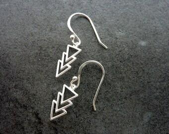 Sterling Silver Triangle Earrings/ Aztec Dangle Earring/ Statement Earrings/ Simple Tribal Earrings/ Everyday Earrings/ Geometric Earrings