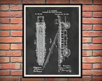 Patent 1894 Fire Extension Ladder and Truck #1 - Art Print - Poster - Fire House Art - Fire Fighter - Fire Rescue Art - Fire Truck Equipment
