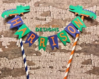 Florida Gator Birthday Age Cake Bunting Topper - Smash Cake - Alligator Swamp Party -Blue Green Orange - Cake Banner