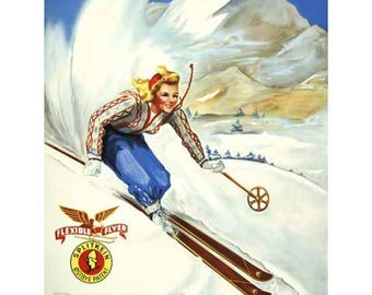 Inn Unique Notchland New Hampshire New England Travel Poster - Vintage Skiing Travel Print Art - Home Decor