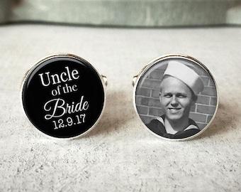 Uncle Of The Bride Cufflinks, Personalized Cufflinks, Wedding Cuff links, Custom Cufflinks, Photo Cufflinks, Wedding Keepsake