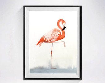 Pink Flamingo, Bird Art Print, Baby's nursery wall decor, Zoo animal, Coral Wall art, Kid's room painting, Pink flamingo, Watercolor Print