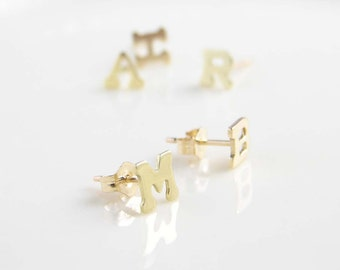 Initial Earrings ~ Gold Initial Stud ~ Personalized Jewelry ~ Small Brass Letter earrings ~ Friendship, Bridesmaid Gift
