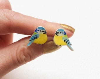 Hand drawn Blue Tit Earrings. Bird Earrings. Stud or Dangle earrings.