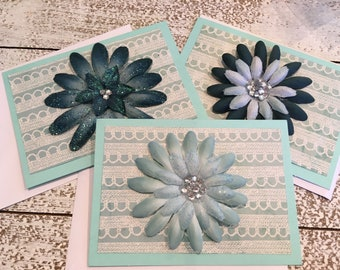 Set of Blue Floral Cards