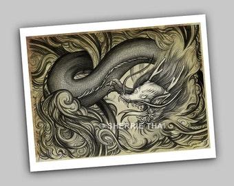 Mythos, Tattoo Style Asian Dragon, Fine Art Print