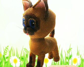 "Pattern / Tutorial Beaded Ornament - Master class for creating ""Kitten Woof"""
