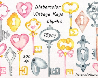 Watercolor Vintage Keys Clipart, love key clip art, Watercolor keyholes clipart, PNG, digital download, for Personal and Commercial Use