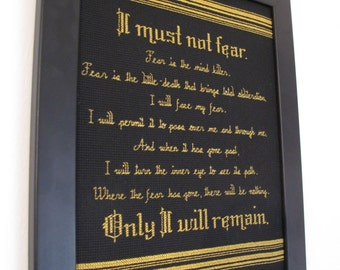 "PATTERN ONLY Litany Against Fear Cross Stitch from Dune 8.5"" x 11"""