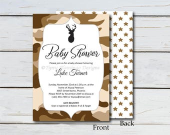 Baby Shower Invitation, DIY Baby Shower, Editable PDF, Party Invite, Desert Camo, Camoflauge, Party, Printable, Instant Download T564A