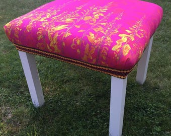 Digitally printed floral design into a Footstool