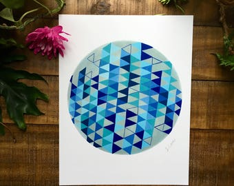 Abstract art print, blue, gray, black, triangle, circle,   watercolor painting, illustrated,  archival,  design