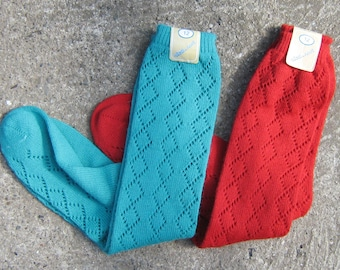 Red & Green Vintage Socks FREE SHIPPING