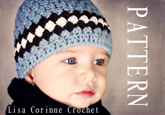 Newborn Hat Pattern Baby Boy Hat Crochet Pattern Striped Baby