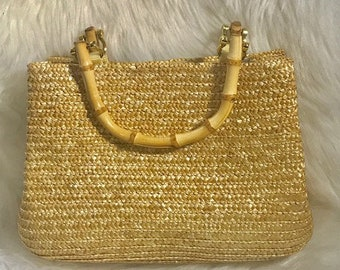 Straw Purse with Bamboo Handle, Woven Straw Hand Bag, Straw Purse, Women's Hand Bags, Vintage Purse, Gift for Her,