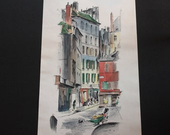 "John Haymson - St. Germain des Pres 6681  Large Fine Art Watercolor Print, 15"" x 35"""