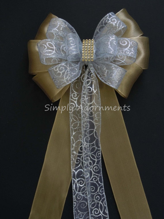 White Gold Pew Bow Filigree Silver Gold Wedding Pew Bow Silver gold Bling Wedding Aisle Decoration Silver Church Pew Bow Church Aisle Decor
