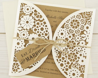 SAMPLE * Floral Laser Cut Eat, Drink and Be Married Wedding Invitation