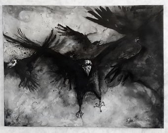Big raven art painting, 89 x 116 cm canvas, dark clouds and flying ravens