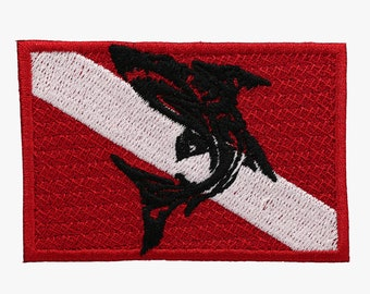 Nautical Flag with shark embroidery patch