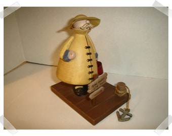 Wooden Fisherman Figure  /Home Decor/ Supplies*