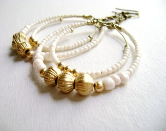 Bohemian style boho chic romantic - My time  - Hoop ivory and golden big light romantic earrings