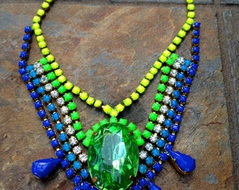Vintage Deco Hand Painted Rhinestone Statement Necklace - CUSTOM