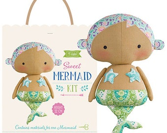 "Tilda USA! The SUNKISS Collection Tone Finnanger   Mermaid Kit Refill   Design Your Own Sun Kiss Mermaid Kit   12.5"" Tall   Sunshine Sewing"