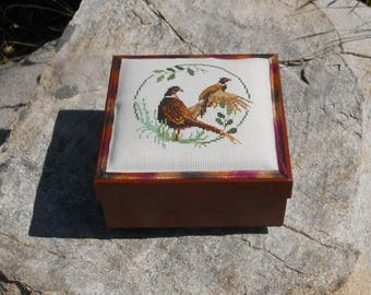 Pheasants - One of a Kind Hand-Embroidery