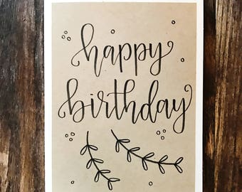 Set of 5 Happy Birthday Greeting Cards with Kraft Paper Overlay - Handmade Calligraphy Birthday Cards