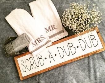 Scrub A Dub Dub Sign - Bathroom Sign - Bath Sign - Guest Bathroom Sign - Master Bathroom Sign - Cute Bathroom Sign