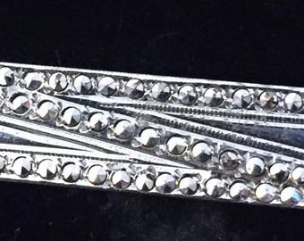 Vintage Mid Century 1950s Sterling Silver Iron Pyrite Marcasites Modernist Tie Bar Clip