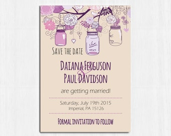 Purple Mason Jar Save the date, Printable, purple save the date, Printable Digital file, mason jar Invitation, violet rustic save the date