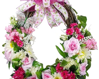 Spring Rose Wreath - Mother's Day Wreath - Spring Grapevine - Grapevine Wreath - Spring Wreath - Rose Decor - Front Door Wreath