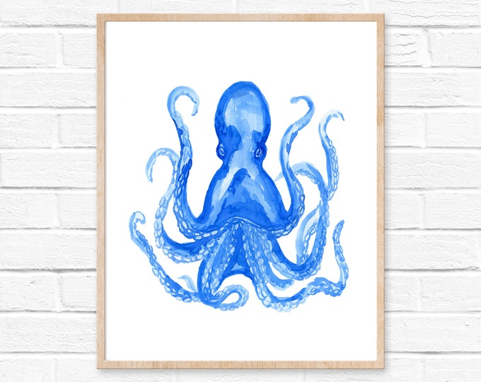 Octopus Watercolor Print 102, Octopus Art Print, Watercolor Art, Animal Watercolor, Octopus Home Decor Wall Art, Octopus Painting Print Art