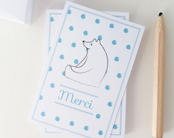 Set of 18 mini thank you cards illustrated with a white bear