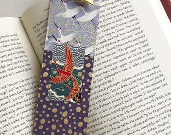 Gold Crane Bookmark (on gray/purple)