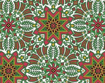 Andover Fabrics Downton Abbey Christmas Metallic Holiday Wreaths 7802 M - 100% Cotton Fabric - Victorian Fabric
