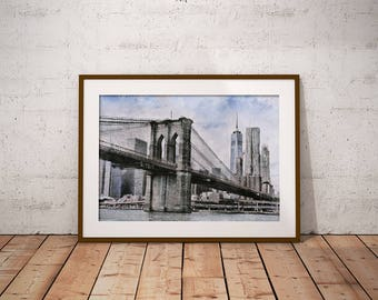 Brooklyn Bridge Printable Art, New York Skyline Sketch, Instant Download Wall Art, Brooklyn Bridge Drawing, New York City, Travel Print
