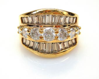 Sterling Silver Gold Plated Baguette and Round Cut Cubic Zirconia in Three Rows Ring