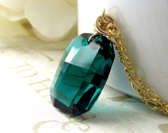 Emerald Green Crystal Necklace, May Birthstone, Swarovski Crystal, 14Kt Gold Filled, Wire Wrapped, Emerald Bridesmaid Jewelry