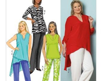 OOP Women's Asymmetrical-Hem Tunics and Pants, Butterrick B6069 Sewing Pattern, Full Figure UNCUT Sizes: 18W-20W-22W-24W or 26W-28W-30W-32W