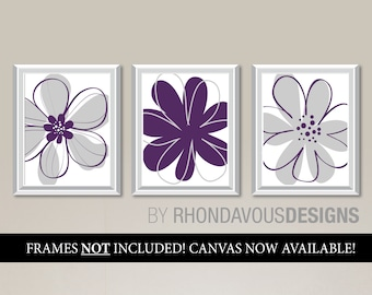 Purple Gray Flower Wall Art Prints - Grey - Purple Nursery Art - Flower Nursery Art - Flower Bedroom Art - Flower Bathroom Art (NS-757)