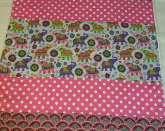 Plush fleece Baby Blanket/Modern Quilt - girl - pink polka dot elephant boho