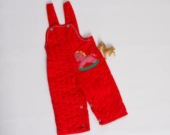 vintage 1970s baby overalls | quilted red rocking horse bibs