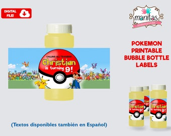 Pokemon Printable Bubble Bottle Label, Personalized Bubble Bottle Label, Pokemon Party, Pokemon Birthday, Pokemon Favors, Pokemon