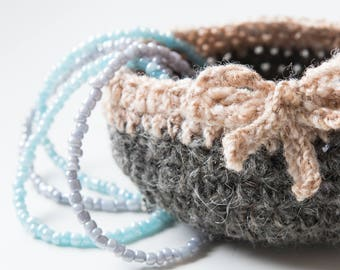 HYGGE jewelry organizer, key holder, nesting basket, storage bowl, round basket, round jewellery tray, hygge living, crochet bowl, smallest