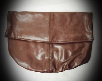vintage dark brown Taiwan ROC clutch faux leather