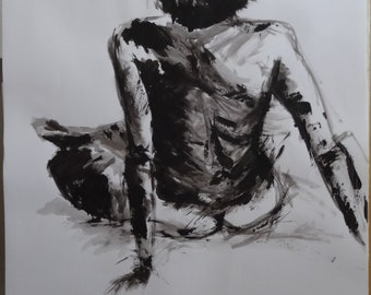 Drawing of female nude, black acrylic paint